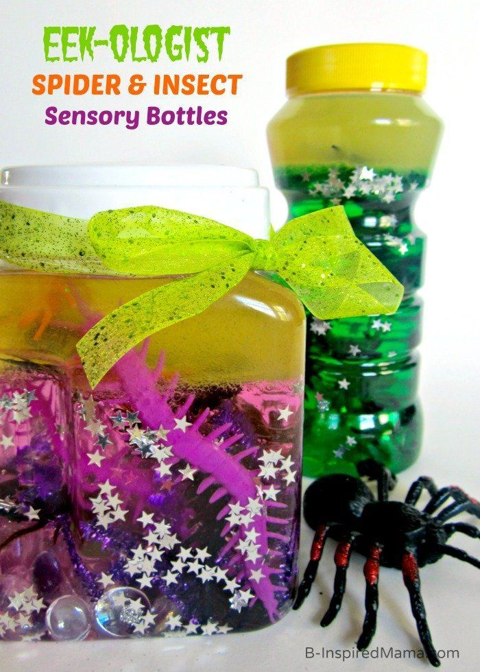 Sensory Bottles of Spiders and Insects for Kids at B-InspiredMama.com #kids #sensory #insects #kbn