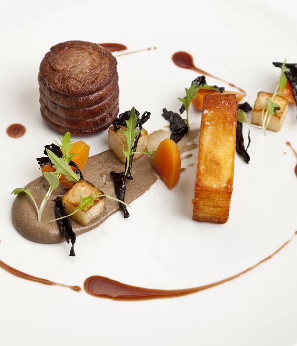 Simon Gueller's fillet of beef recipe uses classic flavours to stunning effect, serving the prime cut of beef with a mushroom purée, pomme Anna potatoes and celeriac.