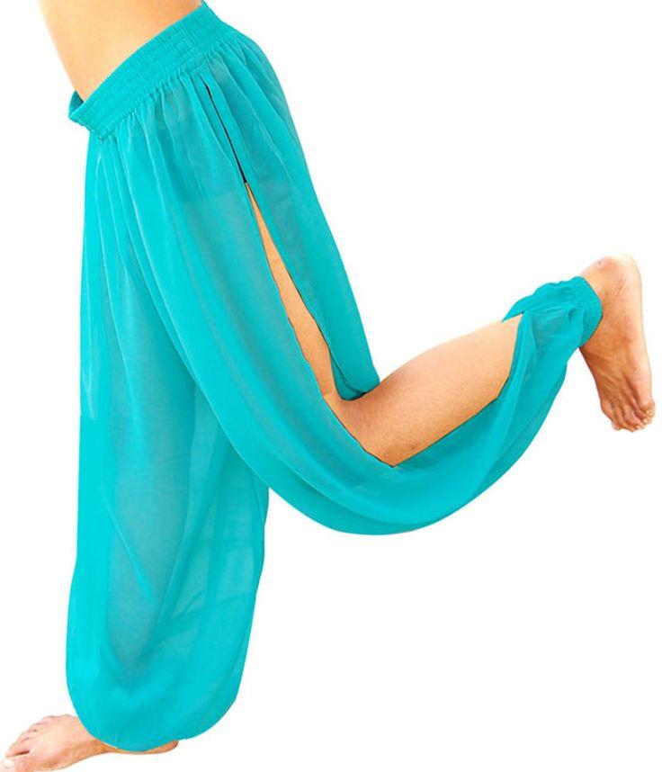 MULTI SLITS HAREM YOGA GENIE TROUSER PANT BELLY DANCE COSTUME DRESS TURQUOISE #CUSTOMEMADEBYUSINOURFACTORY