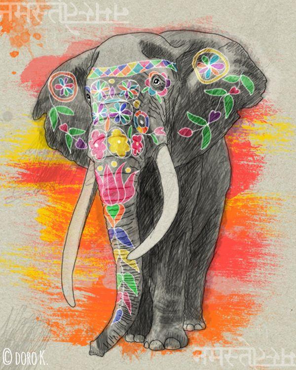 """Elephant in Jaipur"", digital drawing #elephant #Jaipur"