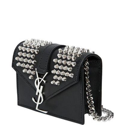 Silver metal #studs YSL monogram and chain straps mini black ...