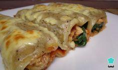 Receta de Canelones de pollo con espinaca #RecetasGratis #RecetasFáciles #Pizza #Pasta #Canelones