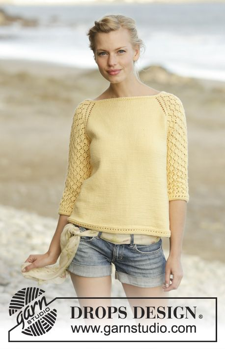 Honey Blossom jumper worked top down with lace pattern on sleeves by DROPS Design Free Knitting Pattern