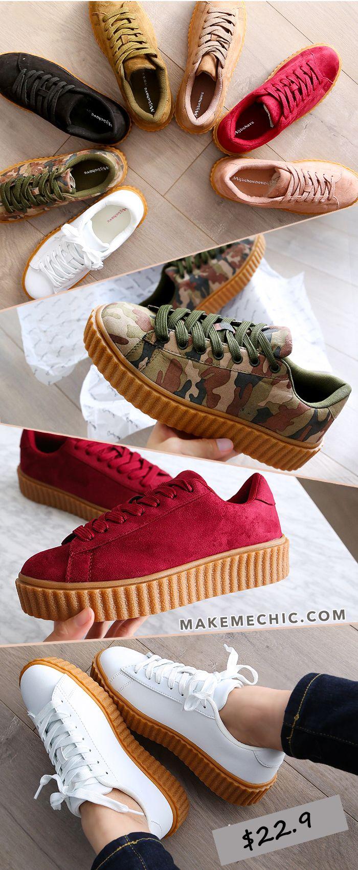 Gum Sole Flatform Creeper Sneakers