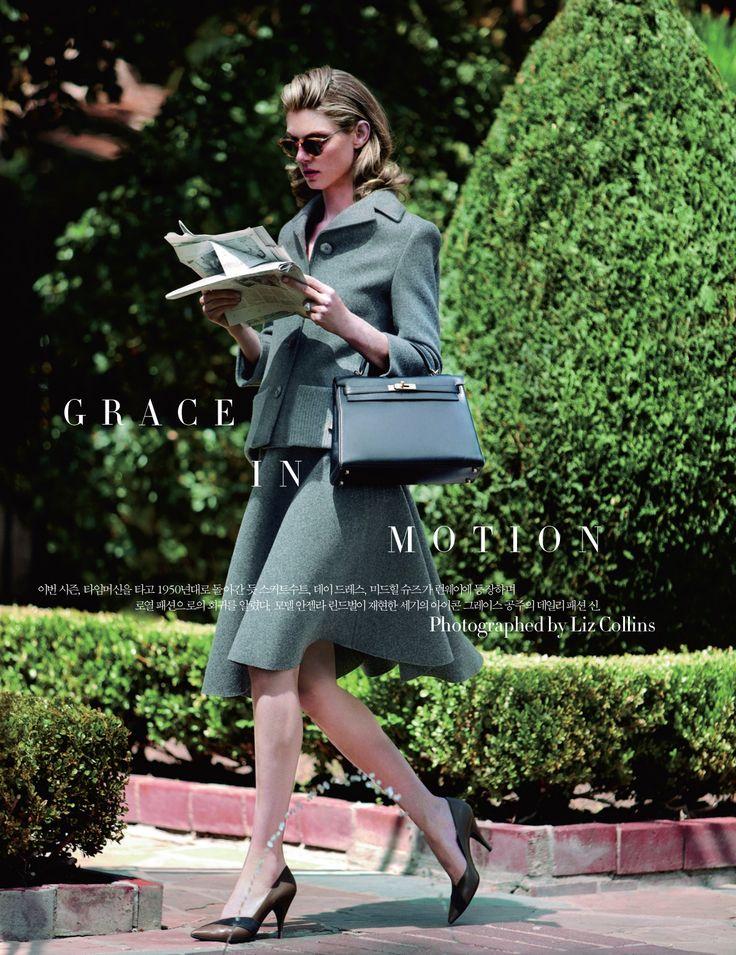 Publication: Harper's Bazaar Korea Issue: November 2013 Title: Grace In Motion Model: Angela Lindvall Photography: Liz Collins Styling: Leith Clark Hair: Cori Bardo Make-up: Jo Strettell