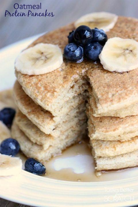 Oatmeal Protein Pancakes recipe on TastesBetterFromScratch.com