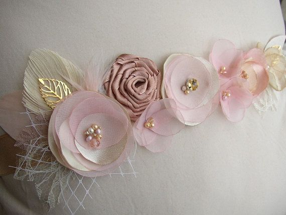 Rose Gold Wedding Sash Blush Wedding Sash Floral by FloroMondo