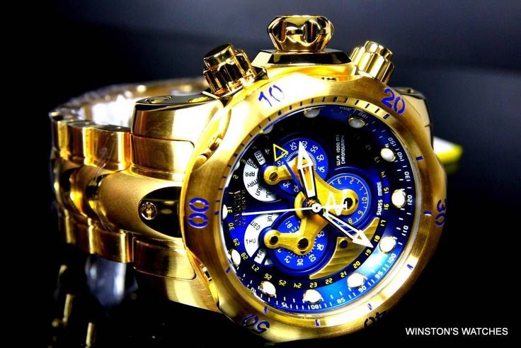 Men Invicta Reserve Venom Swiss Master Calendar Gold Plated Blue Steel Watch New | eBay