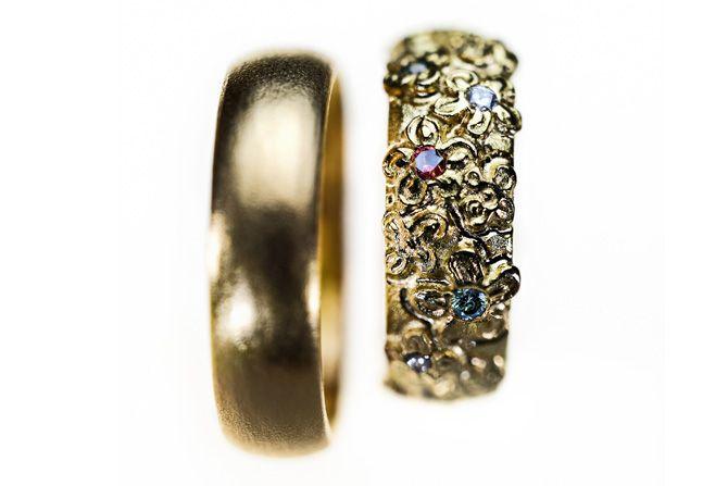 Powerflower vielsesringe - Milas Jewellery