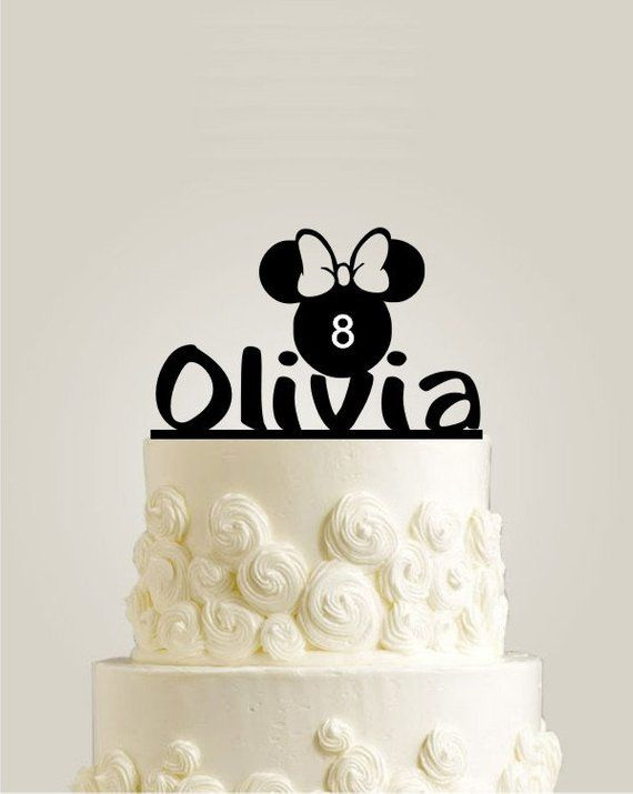 Personalized Birthday Cake Topper Minnie Head Silhouette With Age Number Name Toppers