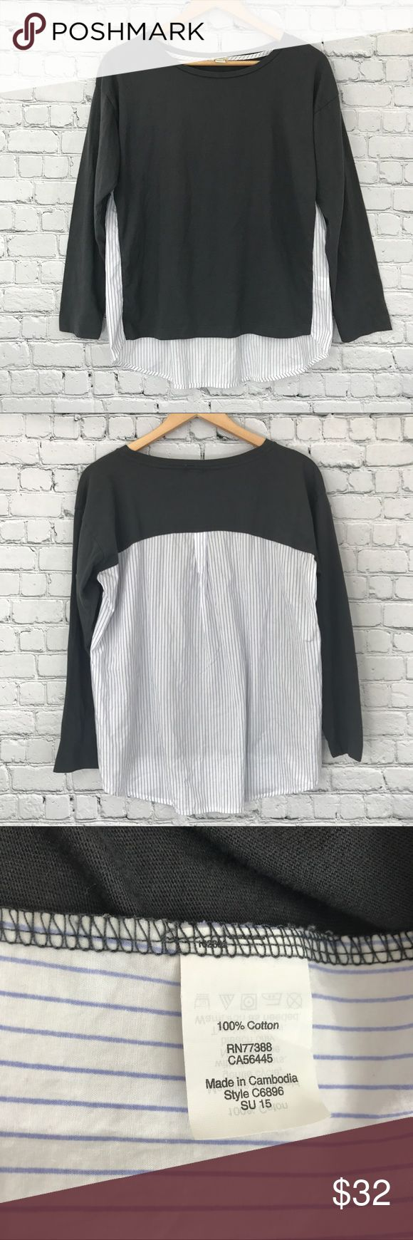 {J Crew} Mixed Media Long Sleeve Hi Low Shirt Excellent used condition! No signs of wear. Bust across lying flat: 20 inches. Length in front 21 inches, length in back 25 inches. No trades, modeling, or lowballs please! 😘 J. Crew Tops Blouses