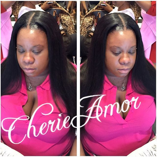 Full head weave bone straight middle part, lil leave out #eny #eleganceofamor #cherieamor #brooklynstylist #hair #hairstylist #weaves