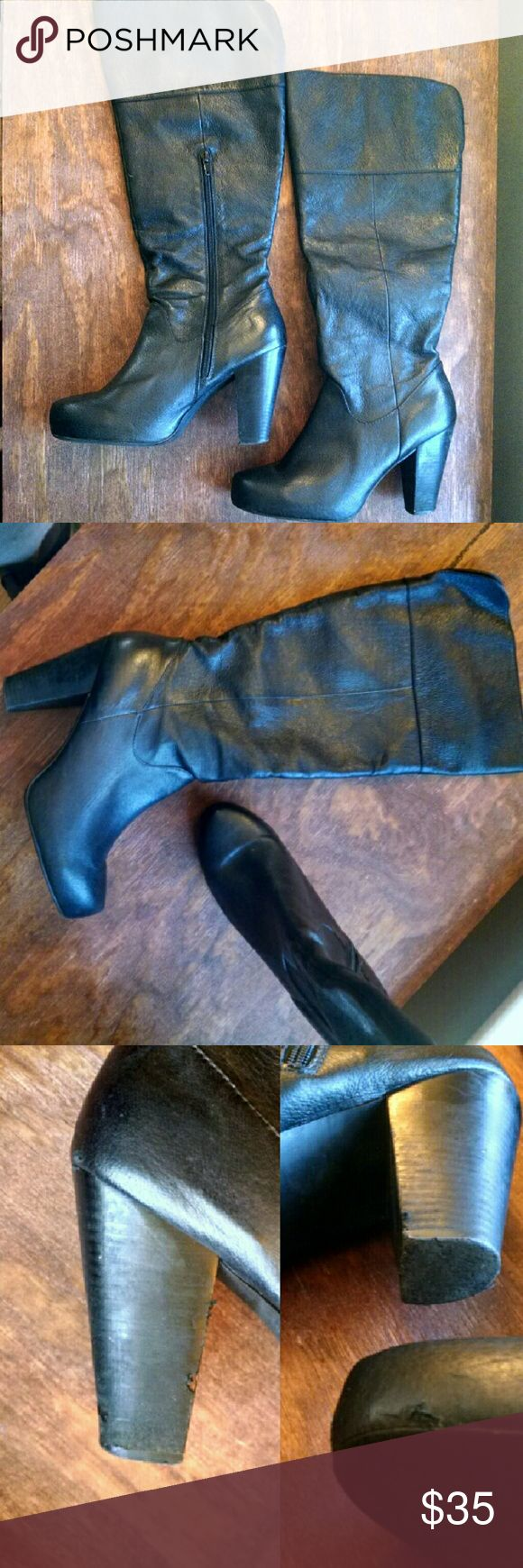 "Steve Madden leather knee high boots Genuine leather Gillis boots. These are really comfy, I just replaced them with a different pair of boots in my wardrobe.  Some damage on heels shown in pics.  - Partial side zip closure - Top split shaft at back - Stacked heel - Hidden platform - Approx. 16"" shaft height, 16"" opening circumference - Approx. 4"" heel, 0.75"" platform - Imported Steve Madden Shoes Heeled Boots"