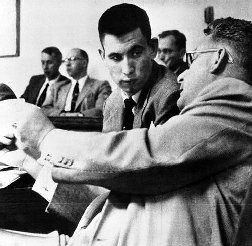 John Gilbert Graham- Accused of placing a homemade dynamite bomb aboard a United Airlines DC-68 to kill his mother, for her insurance. The plane exploded and crashed Nov. 1, 1955 killing 44 persons. (1956)