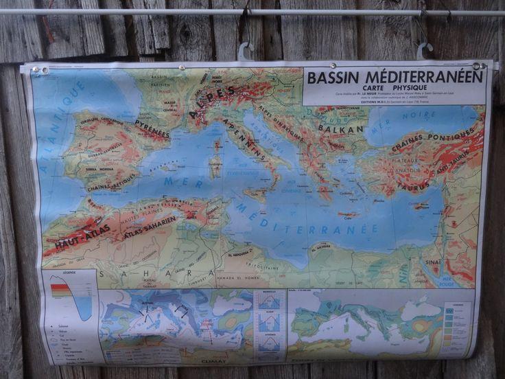Vintage French Map Mediterranean Basin Bassin Mediterraneen Large Double Sided Coated School Maps Physical Climate circa 1977 Purchase in store here http://www.europeanvintageemporium.com/product/vintage-french-map-mediterranean-basin-bassin-mediterraneen-large-double-sided-coated-school-maps-physical-climate-circa-1977/