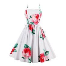 Sisjuly 1950 s de las mujeres de la vendimia pin up vestido de verano blanco rojo vestidos de fiesta floral impresión de las señoras elegantes vestidos atractivos de la vendimia(China)