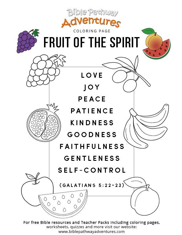 Printable Fruit Of The Spirit Coloring Page Children S Church