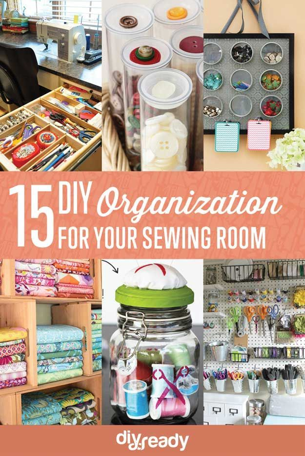 15 Sewing Room DIY Organization | 26 Craft Room Ideas Every Crafter Would Love | Creative and Cute Projects On A Budget http://diyready.com/room-ideas-every-crafter-would-love/