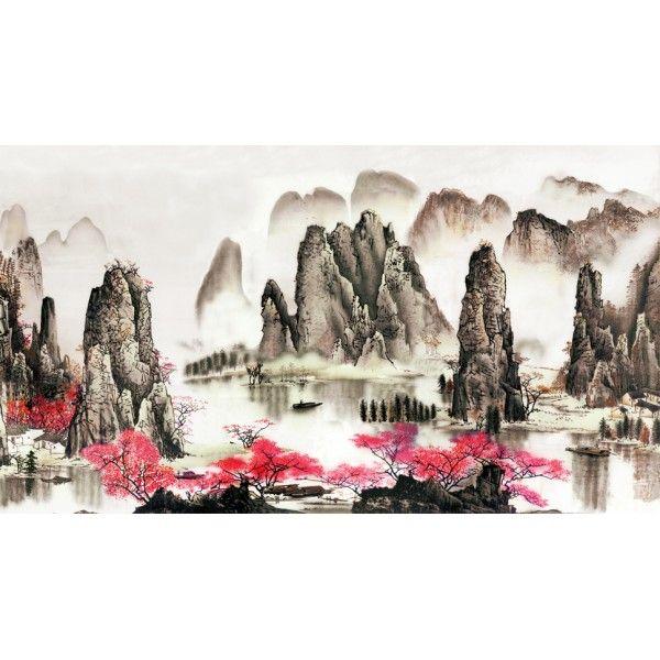 papier peint personnalisé style chinois paysage asiatique le printemps