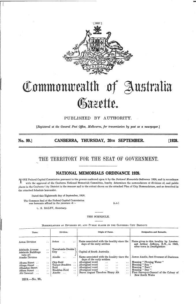 Commonwealth of Australia Gazette 20/09/1928 : National Memorials Ordinance 1928 - page 2637