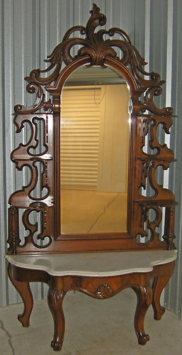 1800s Antique Victorian Etagere Walnut Marble Tall Mirror