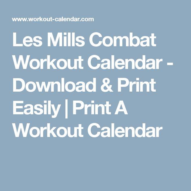 Les Mills Combat Workout Calendar - Download & Print Easily | Print A Workout Calendar