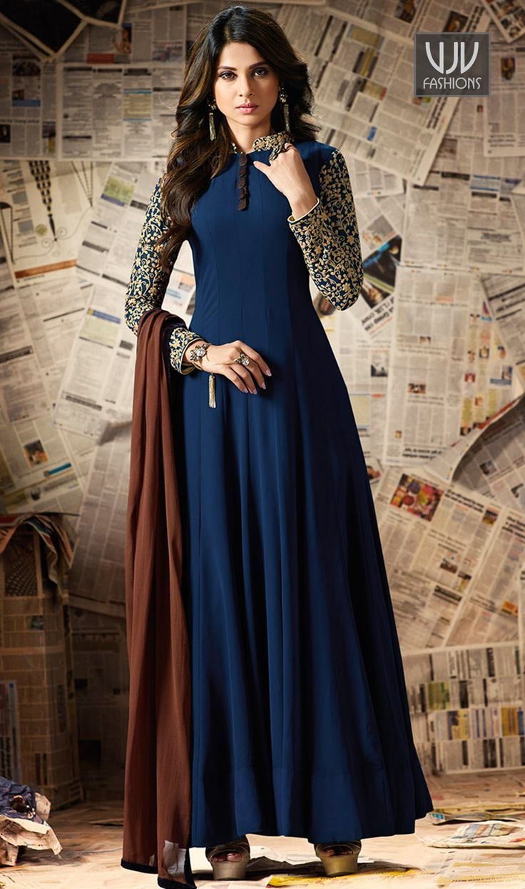 Jennifer Winget Blue Color Georgette Anarkali Designer Suit Make an adorable statement in this Jennifer Winget navy blue color georgette designer anarkali salwar suit. This beautiful attire is showing some amazing embroidery done with resham, patch border and embroidered work.
