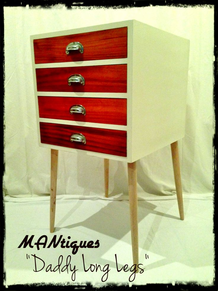 Daddy Long Legs  We painted the solid wood outer casing in old white and gave it a clear coat to protect it. The drawers have been sanded and polised to a shine, to round off the revamp we placed it on a set of finely turned legs once again polished to a shine.