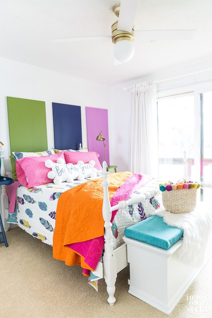 DIY decorating on a budget. How to transform a bland bedroom into a fun and colorful guest room. Lots of tips and ideas over on this blog. via Diane H…