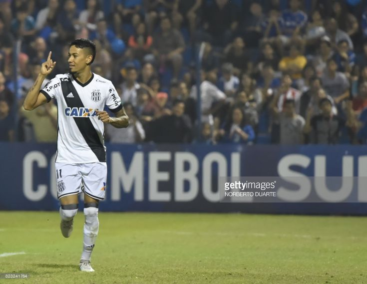 Lucca of Brazil's Ponte Preta celebrates after scoring against Paraguay's Sol de America during a 2017 Copa Sudamericana football match held at Luis Alfonso Giagni stadium, in Villa Elisa, Paraguay, on July 26, 2017. /