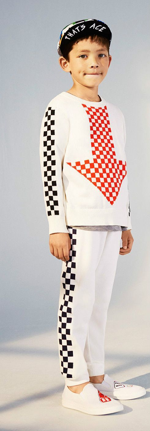 Stella McCartney Kids Boys Narrow Check Arrow Top Patch & Check Pants. Cute Boy Outfit for Spring Summer 2018 by Famous Designer Stella McCartney. Adorable Casual Outfit for Kid, Tween, Teen Boys. Cool, Comfy & Stylish Outfit Perfect for a Day at the Beach or Streetwear Look. #stellamccartney #kidsfashion #fashionkids #childrensclothing #boysclothes #boysclothing #boysfashion #cute #boy #fashion #kids #TeenBoyFashion