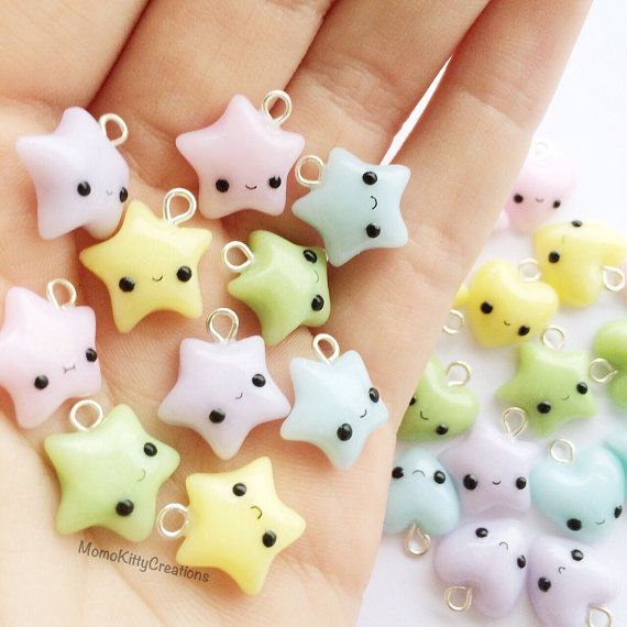 Polymer clay star charm polymer clay charms by MomoKittyCreations