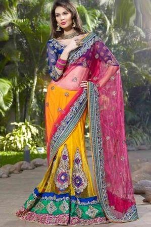 Yellow  Pink Color Net  Santoon Material Designer Lengha Style Bridal Saree