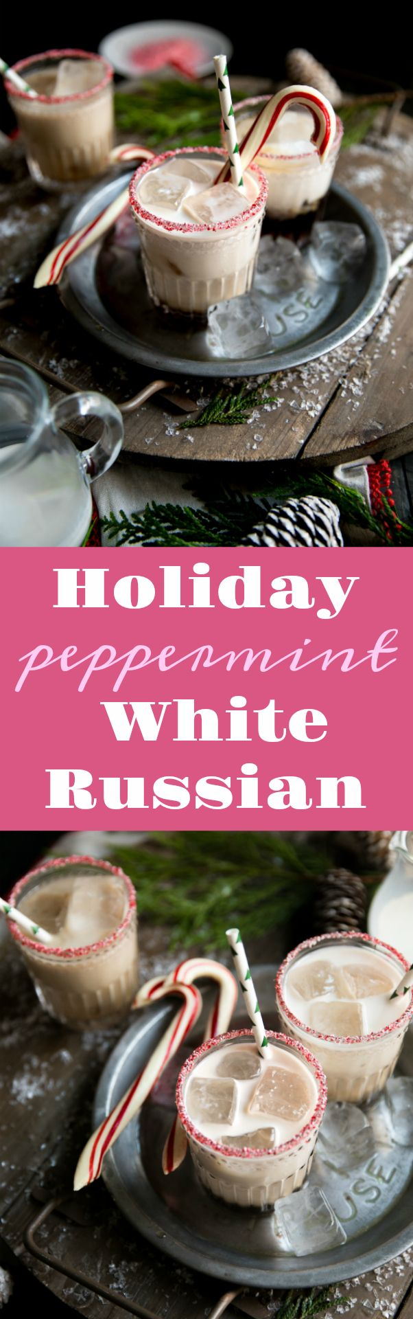 Candy canes, finely crushed 1 tablespoon granulated sugar Ice 1-ounce Peppermint Schnapps 1-ounce Kahlúa 1-ounce vodka Half and half or whole milk Additional candy canes, to garnish