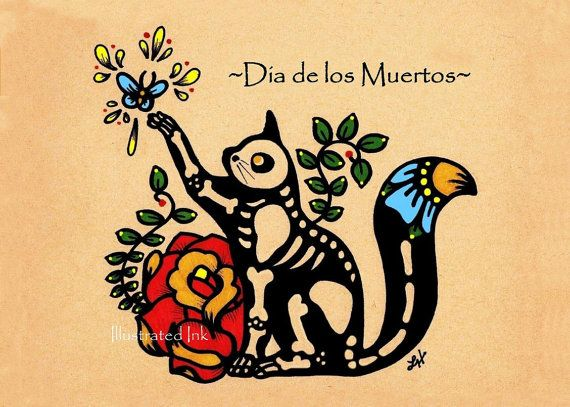 Day of the Dead CAT- I like the flower idea for a tatuuu