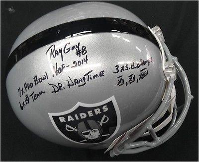 Ray Guy Hand Signd Auto Oakland Raiders Full Size Replica Helmet JSA Super Stats