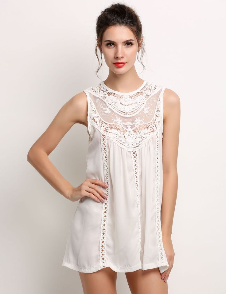 White Women Fashion Sexy Loose Chiffon Sleeveless Hollow Crochet Lace Patchwork Solid A-Line Short Casual Going Out Dresses