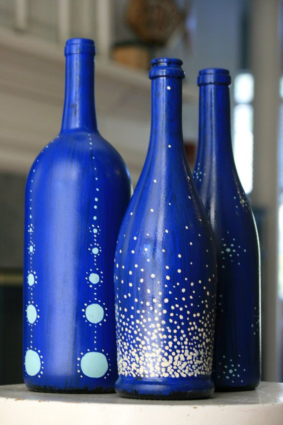 Decorative handpainted Bottle Trio  COBALT by HeartHounds on Etsy, $45.00