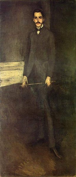 James Abbott McNeill Whistler ca. 1897 portrait of George Washington Vanderbilt II (1862 –1914) art collector & member of the prominent Vanderbilt family, which had amassed a huge fortune through steamboats & railroads. He built & owned Biltmore, the largest home in the U.S.. George inherited $1 million from his grandfather & another million on his 21st birthday from his father. Upon his father's death, he inherited $5 million more, as well as the income from a $5 million trust fund.