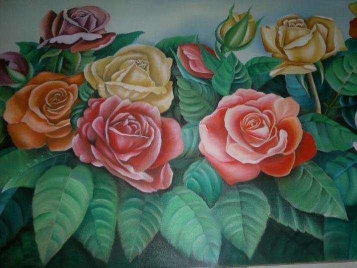 Lukisan Bunga Mawar Warna Warni Di 2020 Lukisan Bunga Bunga Gambar
