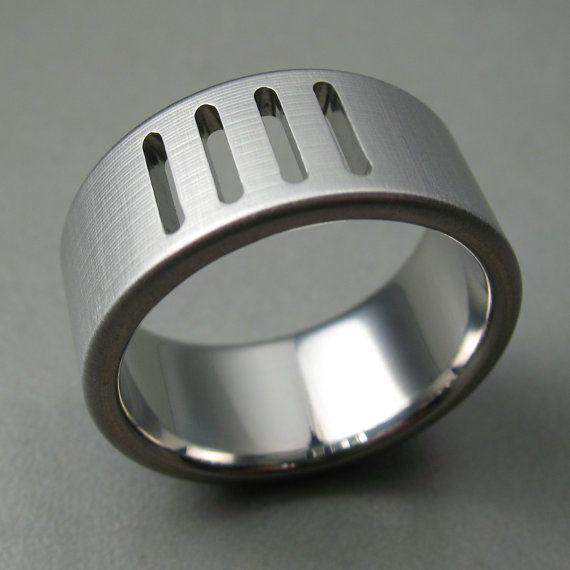 Saw Cut Titanium Wedding Ring by spexton on Etsy