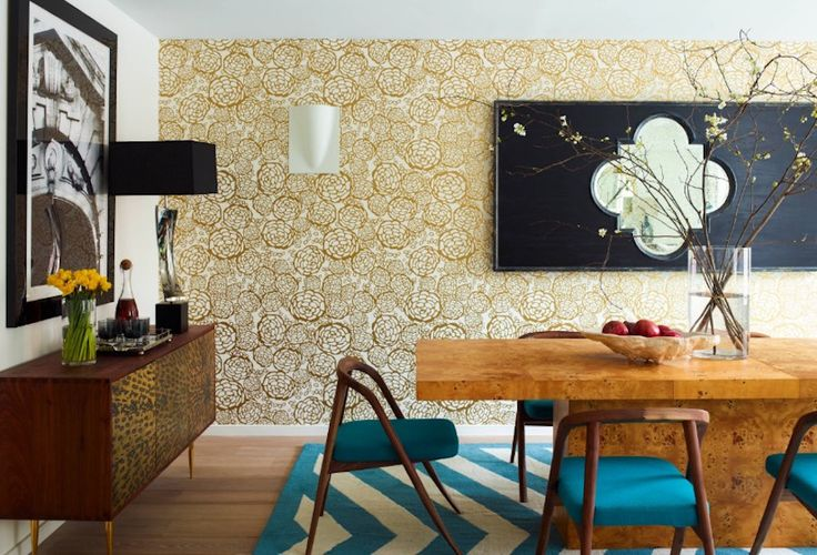 Consider trying wallpaper with a modern twist. Image: Incorporated Architecture & Design