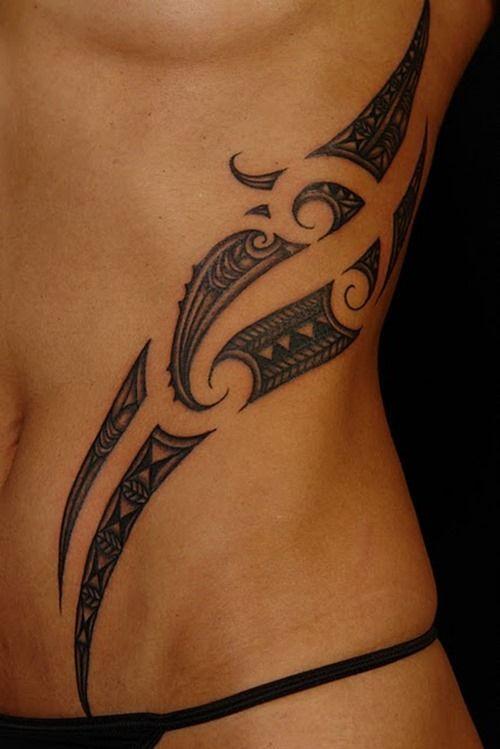 Polynesian side tattoo: