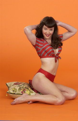 Gretchen Mol as Bettie Page in a movie of bettie's life.