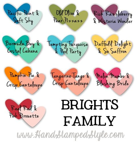 complimentary colors for card stock pairing http://www.handstampedstyle.com