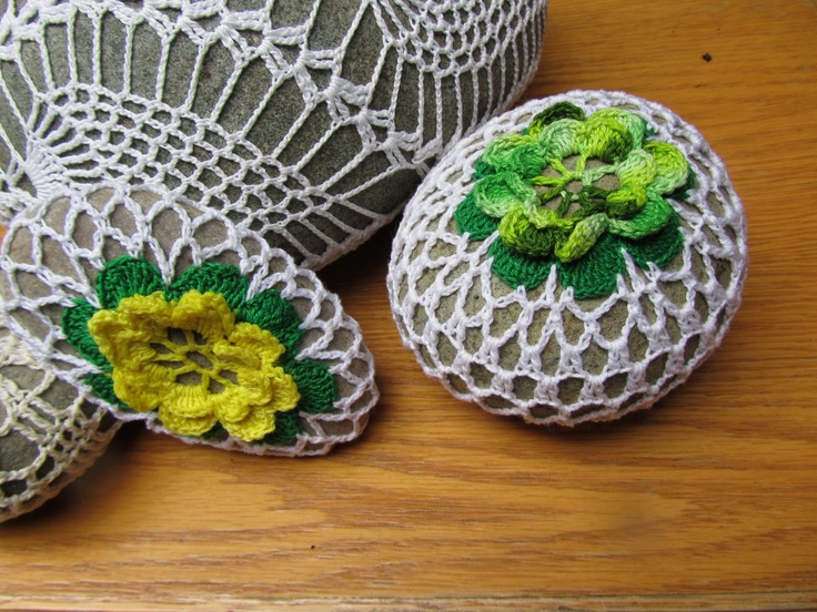 crocheted stone / paper weight