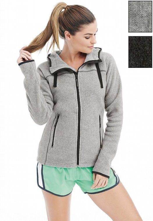 Donna felpa in PILE a giacca con zip cerniera intera con cappuccio Grigio melang