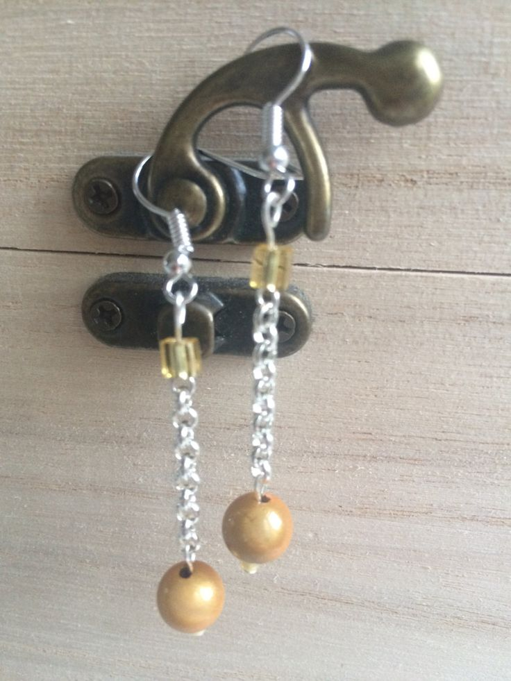 Yellow/Toffee Earrings, Gift For Her, Fashion Jewellery, Valentines, Mothers Day, Birthday, Jewellery For Women, Beaded Earrings, UK Shop by MadeByMissM on Etsy
