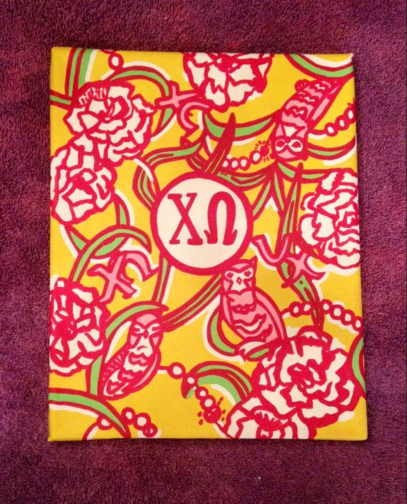 Chi Omega Lily Pulitzer Painting by APassionforPainting on Etsy