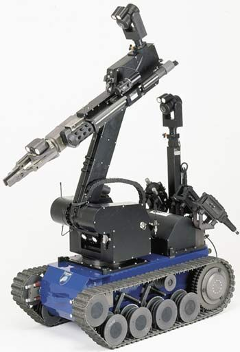 Military grade robotics.  Who said robots have to be the 2 legged,  humanoid kind. This is more interesting because of it's use wheels rather than legs.